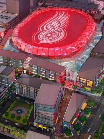 A rendering of the new Detroit Red Wings hockey arena