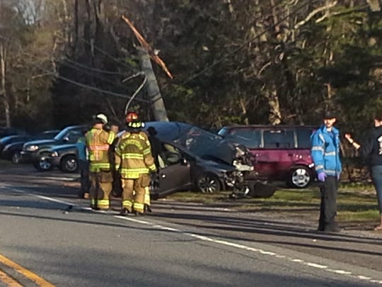 Scene from car crash on 2500 block of East Main Street in Millville Wednesday evening.