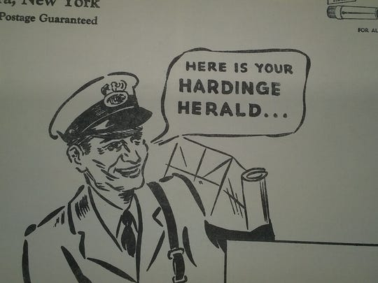 A postman in the monthly newsletter the Harding Herald,