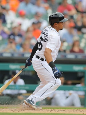Detroit Tigers third baseman Jeimer Candelario doubles against the Tampa Bay Rays during the first inning Wednesday, May 2, 2018, at Comerica Park.