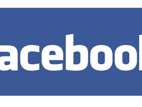 Facebook logo in white on a blue background.