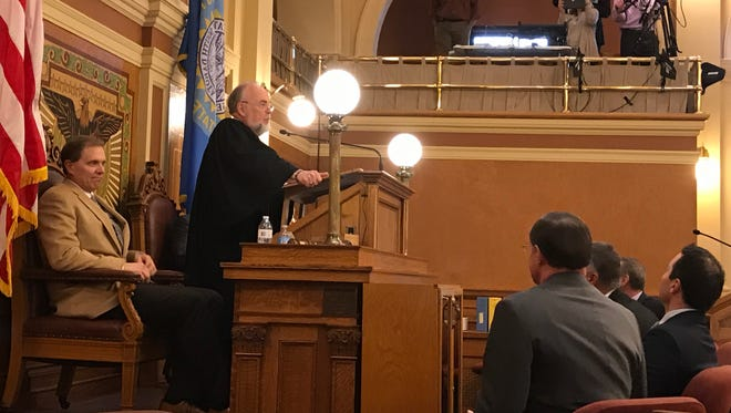 South Dakota Chief Justice David Gilbertson delivers his State of the Judiciary address Wednesday in Pierre.