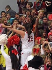 Drury's Hannah Dressler celebrates with the crowd at