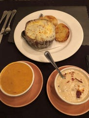 Soups at the Lamplighter in Greece include, clockwise
