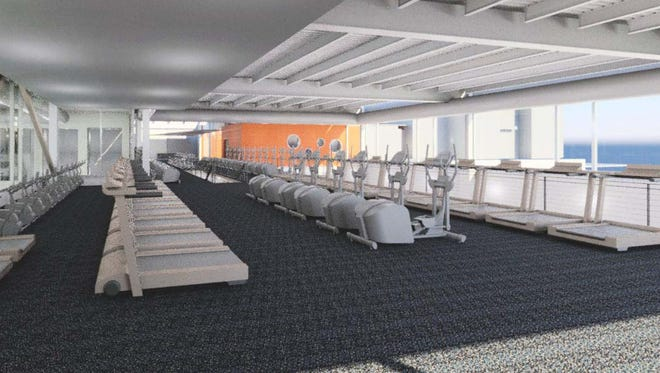 A rendering of the upper floor of the planned new fitness center at the Jewish Community Center, opening in 2016.