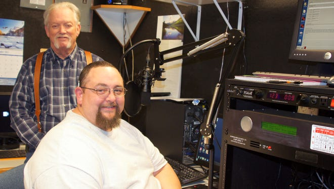 Marhsall Boyer, standing, and Xavier Silva are ready to man the mic when KVIW-104.5FM Radio hits the airways on Monday with a Bible teaching format that includes nationally syndicated devotionals, testimonials, the Gaither Gospel Hour and Christian Rock format.