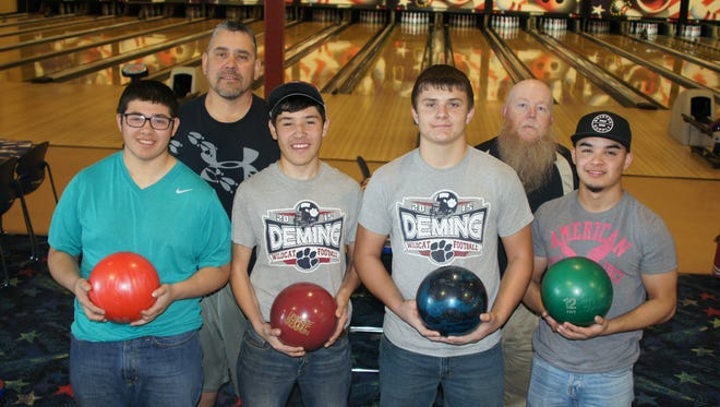 The Deming High Wildcat Bowling Club is, from left, Jordan Perales, Coach Richard Perales, Jared Morgan, Assistant Coach Sonny Garney and Adam Landry. Not pictured is Shane Mora.