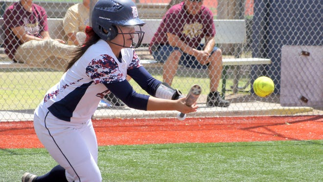 Freshman Lady Cat Mariah Trujillo has many attributes as a Deming High softball player and sacrificing for the good of the team was one of those attributes.