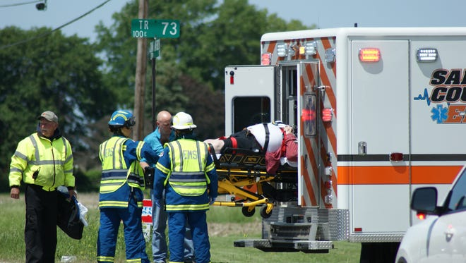 A man is taken by ambulance to ProMedica Memorial Hospital in Fremont after crashing into a vehicle at Ohio 19 and County Road 73. Ohio Highway Patrol said the motorcycle failed to stop at the intersection.