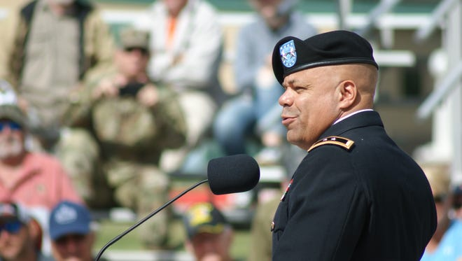 Major General John C. Harris, Jr., the Assistant Adjutant General of the Ohio Army National Guard, speaks of the importance of will and determination for becoming a great shooter during his speech at Camp Perry on Monday.