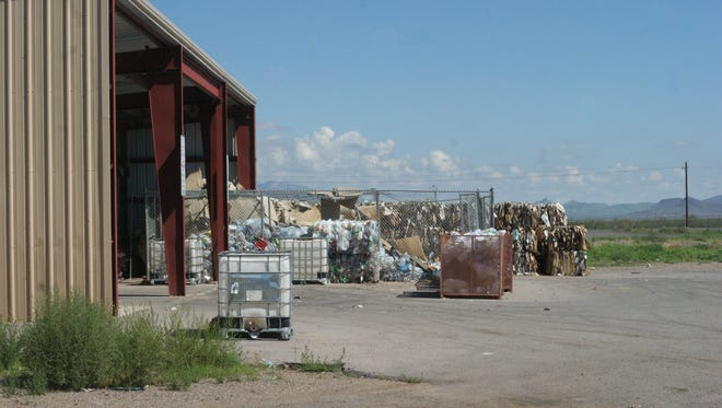 Bales of recyclables at the Deming Transfer Station on Highway 549, east of town.