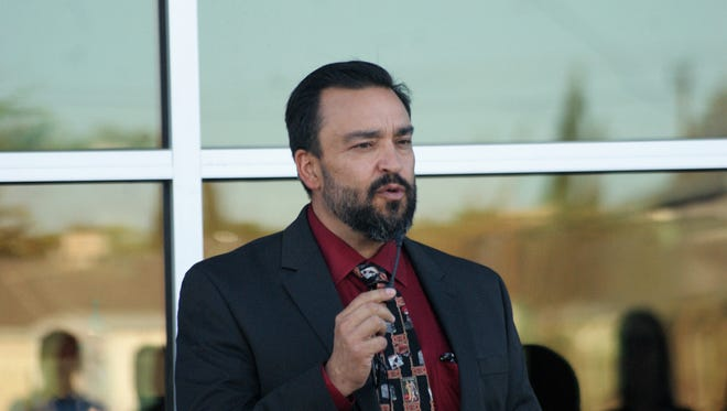 Arsenio Romero, who arrived to the district in 2017, is seen here at the ribbon-cutting ceremony for the new Deming High School in October. On Tuesday night he celebrated the first bond election of his administration.