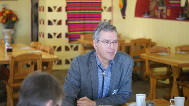 Democratic gubernatorial candidate Peter DeBendittis listens to county residents over breakfast at LaFonda Restaurant during a stop in Deming Thursday morning.