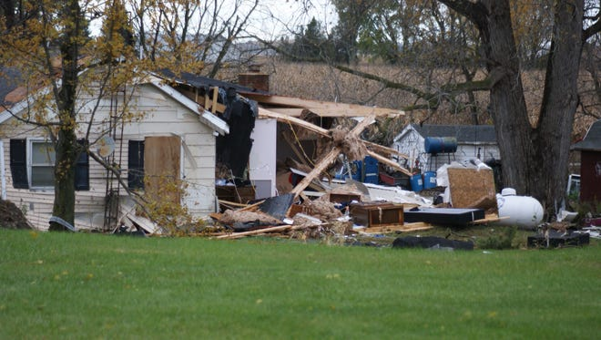 A home on Ohio 412 was destroyed by an EF 1 tornado with winds up to 100 mph on Sunday.