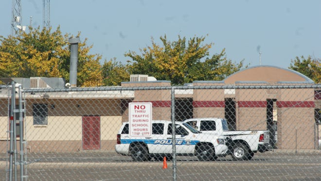 Law enforcement was a visible presence at Deming High School Tuesday morning, with city police patrolling streets around campus as well.