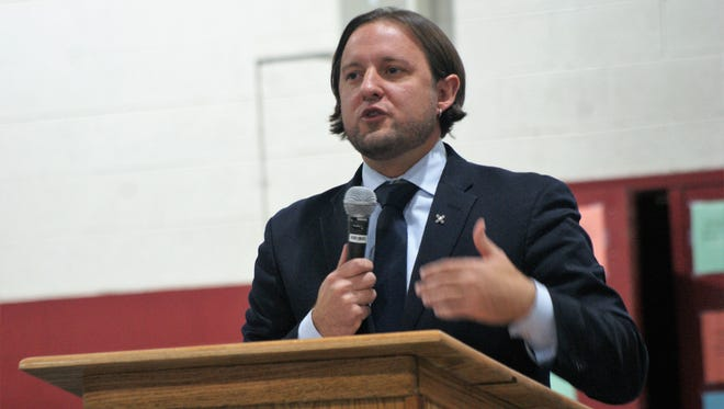 New Mexico Secretary-designate of Education Christopher Ruszkowski, during a visit to Deming in November.