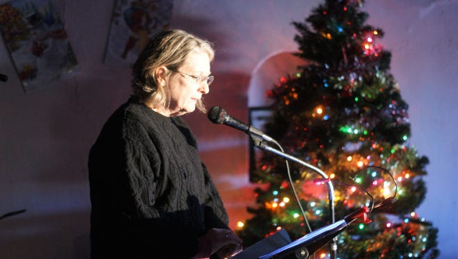 "Anne Reedy rehearses for ""A Country Christmas"" variety show at the Tumbleweed Theater of Columbus, NM."