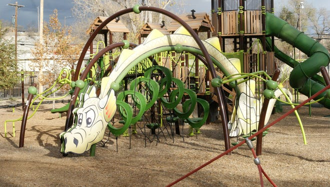 A dragon-themed playset is a feature at Penny Park in Silver City, a playground incorporating equipment accessible for children with physical or developmental disabilities.