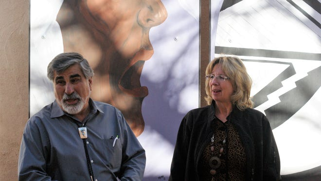 Democratic candidate for Lt. Governor Rick Miera, left, visits Arts Park with Deming MainStreet director Laurie Findley.