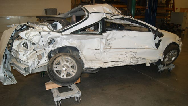 A Chevrolet Cobalt after a crash which killed the driver. Her family's lawyers say GM concealed a problem with the car's ignition switch.