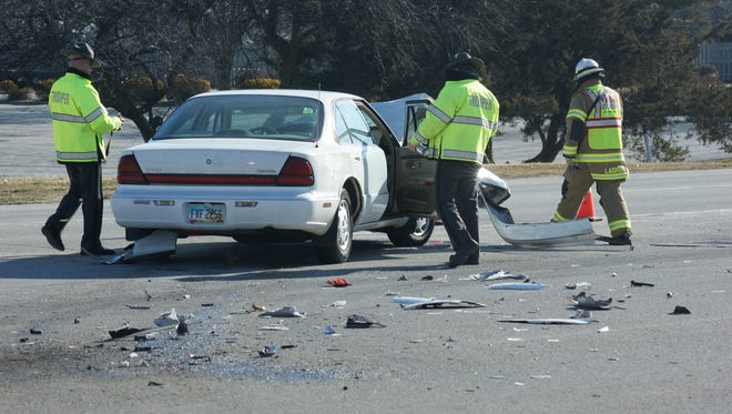 Ohio Highway Patrol and Ballville Township Fire Department respond to a two-vehicle crash at East State Street and Timpe Road.