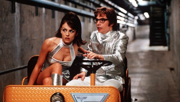 Mike Myers, right, and Elizabeth Hurley in a scene