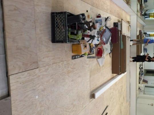 The smaller studio under construction.