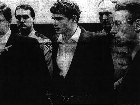 Brian Britton, 16, at his arraignment in April 1989.