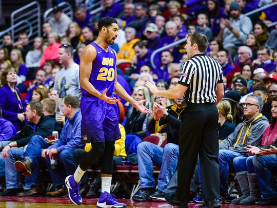 Dec 17, 2016; Des Moines, IA, USA; Northern Iowa Panthers guard Jeremy Morgan (20) reacts to a call with official Kelly Pfeifer during the second half against the Iowa Hawkeyes at Wells Fargo Arena. Iowa won 69-46. Mandatory Credit: Jeffrey Becker-USA TODAY Sports
