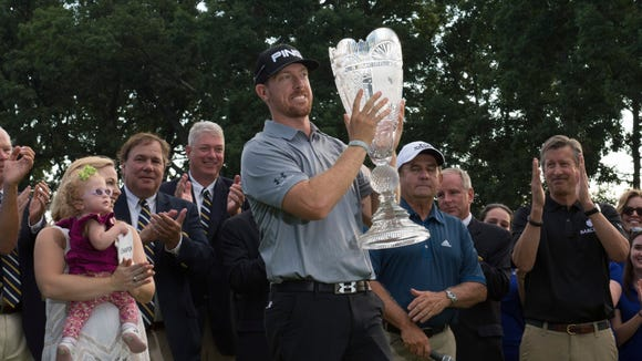 Hunter Mahan holds the Barclays Trophy winning at Ridgewood Country Club.