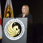 SGA President Cait Zona followed President Hitt's address, sharing her goals and commitments to the student body.