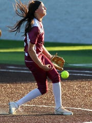 Bowie's Maylie Short releases a pitch in Friday's FCA all-star softball game.