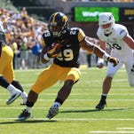 Iowa's LeShun Daniels, shown last year against Western Michigan, is done for the regular season with an unspecified injury.