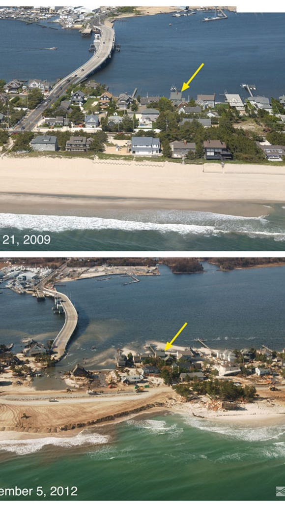 Mantoloking before and after Sandy (Source: U.S. Geological Survey)
