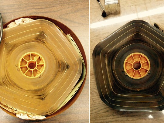 At left, one of the reels of nitrate film found in storage at the Green Bay Press-Gazette and donated to the Neville Public Museum late last year. At right, the same reel after being brushed clean.