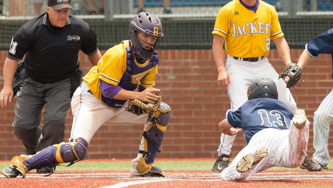 Byrd catcher Trent Touchet prepares to make a play at the plate in a game earlier this season. Touchet was the only District 1-5A player selected to the LSWA All-State team.