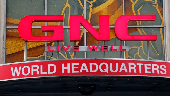 This photo shows a sign at GNC's world headquarters in Pittsburgh.