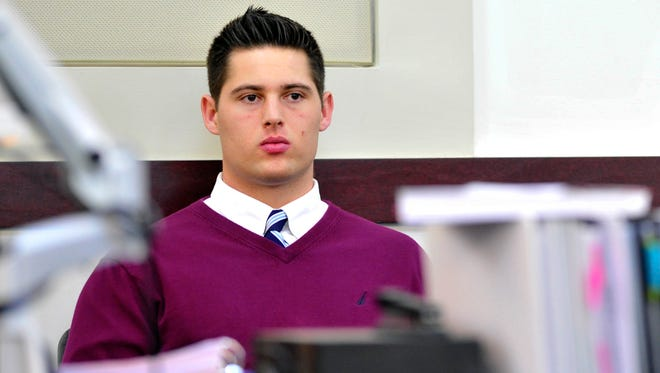 Former Vanderbilt football player Brandon Vandenburg listens during his rape trial, Friday, Jan. 16, 2015, in Nashville, Tenn. Vandenburg and Cory Batey are being tried on five counts of aggravated rape and two counts of aggravated sexual battery. Vandenburg is also charged with one count of tampering with evidence and one count of unlawful photography.