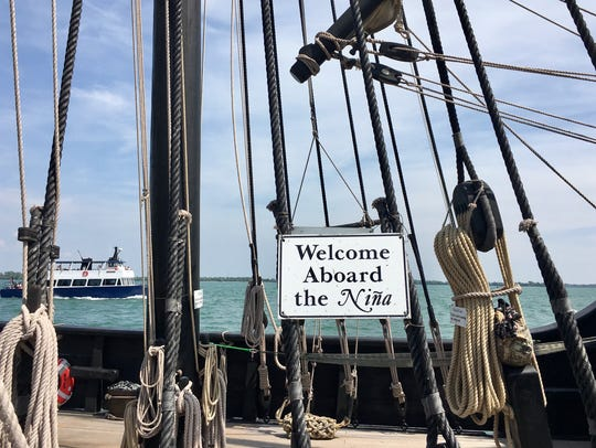 A sign welcomes visitors aboard the Nina, a replica
