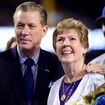 Los Angeles Dodgers organist Nancy Bea Hefley poses wth Orel Hershiser before Friday's game at Dodger Stadium in Los Angeles.