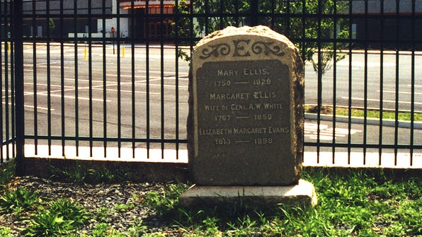 Mary Ellis' grave at it appears today.