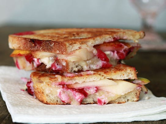 Cranberry, pear and brie grilled cheese.