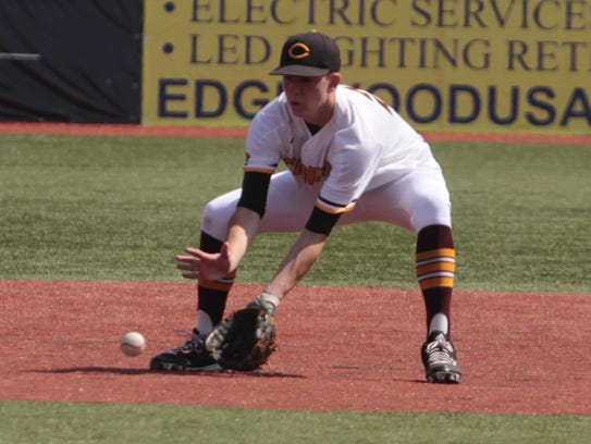 Tyler Ollier of Cooper gets in front of a grounder.