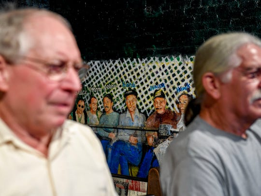 """Robert """"Hawk"""" Miller, left, and Jerry Crouch, right,"""