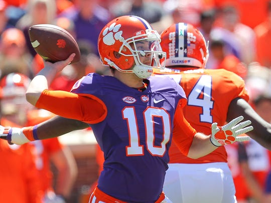 Clemson quarterback Tucker Israel (10) throws during Clemson's NCAA college football spring game at Memorial Stadium in Clemson, S.C. on Saturday, April 8, 2017.
