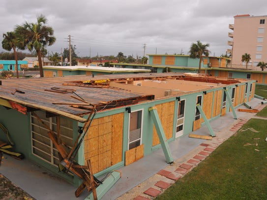 Sea Aire Motel in Cocoa Beach lost the roof of one