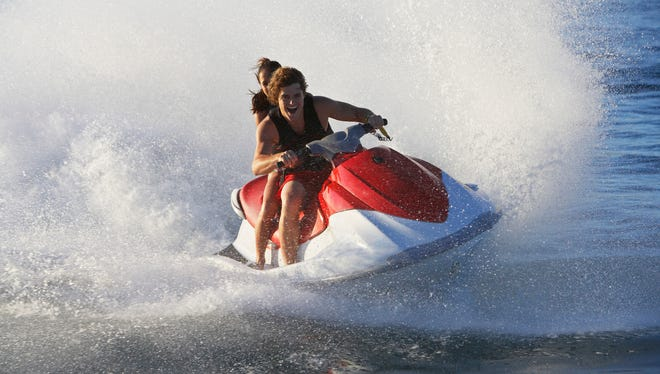 File: Five people have been hospitalized following two personal watercraft crashes.