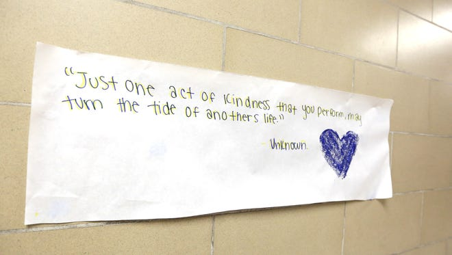 """Whiteaker Middle School is participating in the national anti-bullying campaign, """"The Great Kindness Challenge."""" Photographed on Tuesday, Jan. 26, 2016, in Keizer, Ore."""
