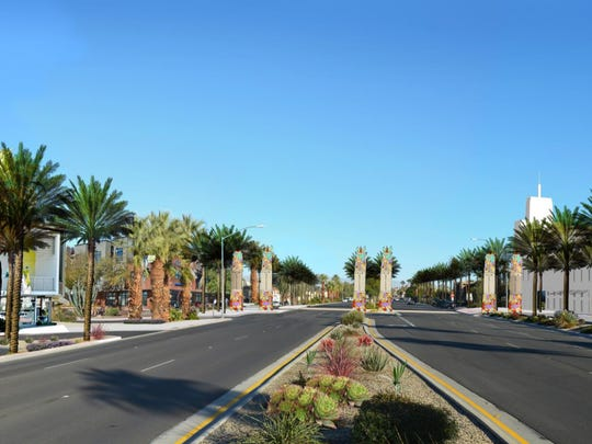 A rendering of what Highway 111, between Monterey and San Pablo avenues, could look like under in 20 years, under the city of Palm Desert's proposed General Plan update.