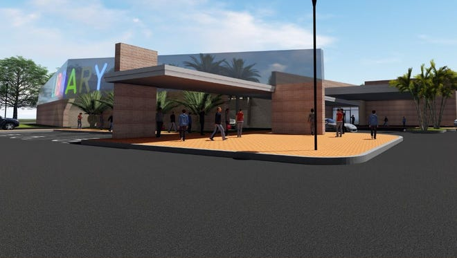 """Preliminary sketch of a possible view of the new North Fort Myers library featuring a """"big and bold"""" marquee facing the business spur of U.S. 41. The prelminary drawning was  created by BSSW Architects Inc. of Fort Myers. A county committee has ranked BSSW as the top choice for the contract to design the new North Fort Myers and Bonita Springs  libraries."""